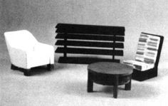 """Modern Living Room Suite (c. 1929), includes complete (1/2"""" scale) plans, patterns, and instructions for a magazine rack, a coffee table, Modern chair, and upholstered easy chair. In The Scale Cabinetmaker, Volume 11:4, now available as a pdf download."""