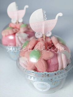Vasito Cup Cake con Adorno Bebé Rosa | Sweet Design