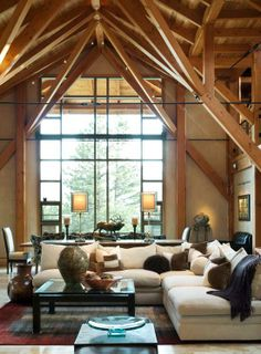An Arts & Crafts Inspired Mountain Timber Frame Post and Beam Home - Timber Home Living. Couch/window/post and beam My Living Room, Home And Living, Living Spaces, Cottage Living, Living Area, Timber Frame Homes, Timber House, Cool Rooms, Great Rooms