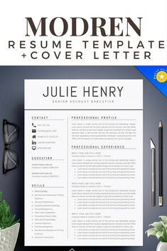 Needing a new job, start with a resume refresh. This modren resume template has it all to update and renew. And includes matching cover letters. Instant download. #affiliate #workfromhome #resume #templates #coverletter #work