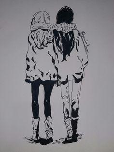 Drawing #girls #bff #gossips #b&w