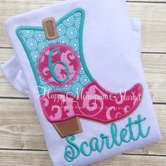 A personal favorite from my Etsy shop https://www.etsy.com/listing/252205211/cowgirl-boot-birthday-number-monogram