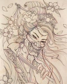 Tomorrow's project. #sketch #illustration #drawing #irezumi #tattoo #asiantattoo #asianink #chronicink #geisha