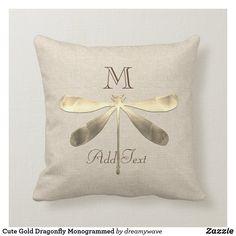 Cute Gold Dragonfly Monogrammed Throw Pillow Playroom Decor, Nursery Decor, Natural Home Decor, Christmas Card Holders, Custom Pillows, Keep It Cleaner, Monogram, Throw Pillows, Make It Yourself