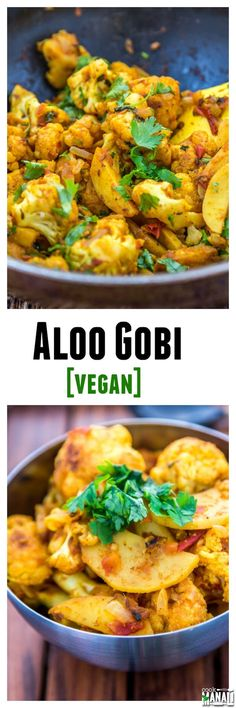 Aloo Gobi - Potatoes and cauliflower cooked with onion, tomatoes & spices is a popular Indian recipe. [Vegan] Find the recipe on www.cookwithmanali.com