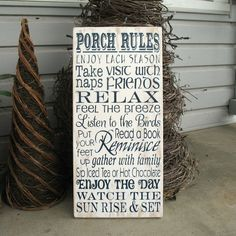 Porch Rules-- Painted Wooden Subway Art Sign. I need this!