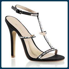 Fabulicious Melody-18 sexy High Heels Riemchen Strass Sandaletten Satin Schwarz 35-42, Größe:EU-39 / US-9 / UK-6 - Sandalen für frauen (*Partner-Link)