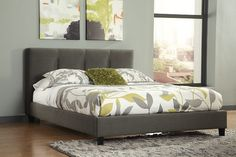 Espresso Masterton King Upholstered Bed View 1 - THE ONE! No box spring needed, potential for wood frame support