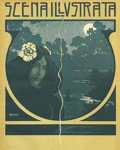 Vintage Italian Art Nouveau Poster 1902 magazine cover