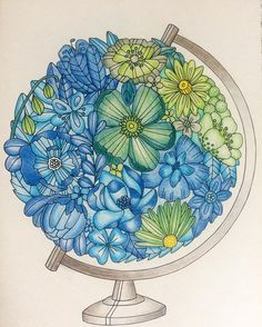 Globe of flowers flowers coloring colours colour globe postcard coloringboo Globe Tattoos, Pen Art, Drawings, Doodle Art, Globe Drawing, Flower Drawing, Art, Zentangle Art, Environmental Art