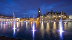 The award-winning Mirror Pool in Bradford City Park is the largest urban water feature in the UK. Designed by The Fountain Workshop - over 100 fountain jets animate the park