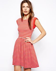 French Connection County Cotton Stripe Skater Dress
