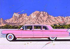 鈴木英人 – ページ 4 – EIZIN SUZUKI ILLUSTRATION Pink Cadillac, Retro Aesthetic, Aesthetic Pictures, Picture Wall, Illustration Art, Illustrations, Interior And Exterior, Dream Cars, Graphic Art