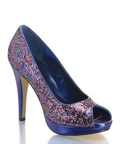 0bed30dacf273e Take a look at this Coloriffics Purple Glitter Rainbow Peep-Toe Pump by  Coloriffics on