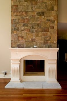 Idea - Cast stone Mantel with field stone above Fireplace Gallery, Stone Fireplace Mantel, Limestone Fireplace, Fireplaces, Fireplace Ideas, Fireplace Remodel, Cast Stone, Homemaking, Home Projects