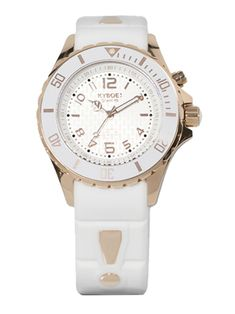 KYBOE! Power White Silicone & Rose Goldtone Stainless Steel Strap Watch/40mm