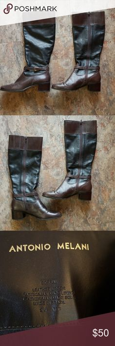 Antonio Melani Black and Brown Leather Boots Antonio Melani Black and Brown Leather Boots size 9M. These boots are lined and are very warm. ANTONIO MELANI Shoes