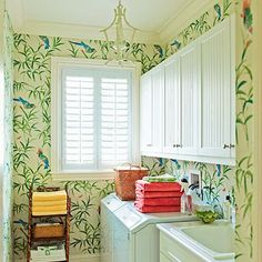 The Glam Pad: Ashley Whittaker Energizes a Florida Town House Bob Collins and Sons wallpaper Laundry Room Design, Laundry Rooms, Mud Rooms, Laundry Area, Laundry Closet, Laundry Storage, Pink Houses, Florida Home, Southern Living