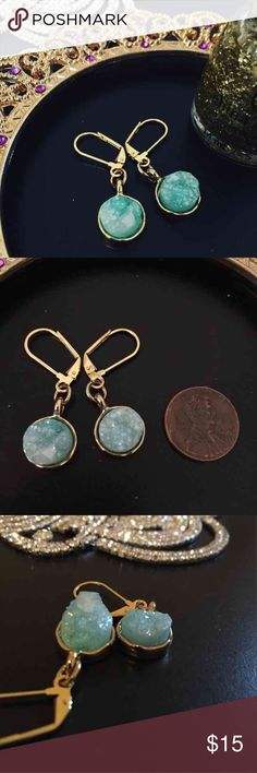 Natural Stone Druzy Earrings These are a pair of never worn, handmade by me, natural stone druzy earrings. The stones are Tiffany blue in certain light, and they look like ice in other lighting. The pictures don't do them justice! Also available in black! Mini gift bag or box is only an additional $2 🎁 Jewelry Earrings