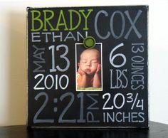 Baby Boy Birth Information Canvas Frame by NatalieKingArt on Etsy, $42.00