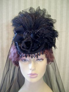Victorian Mini Riding Hat Steampunk Hat Downton Abbey by MsPurdy, $49.99