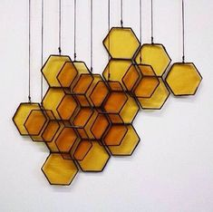Wall Decor inspiration (via Stained Glass Honeycomb Drops on Etsy) Motif Hexagonal, Deco Luminaire, Bees Knees, Home And Deco, Mellow Yellow, Bee Keeping, My New Room, Sweet Home, Creations