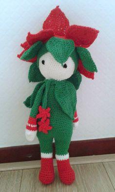 Kerstster Kris bloemenpop gehaakt door Annemieke R - haakpatroon van Zabbez