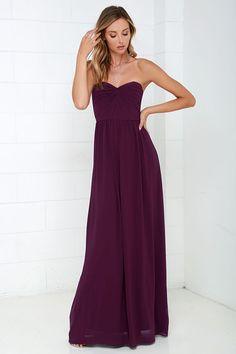 Sapphires or Rubies Plum Purple Strapless Maxi Dress 90ed58a209ce
