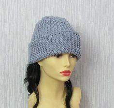 Slouchy Hat Womens Hat Hand Knit Slouch Beanie by AlbadoFashion