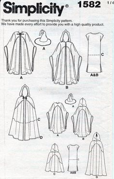 Make your own Cosplay Costume in the style of the Lord of the Rings with Simplicity Sewing Pattern #1582 - NEW / Uncut! - by designer Andrea Schewe, ©2013 Misses, Men and Teen hooded cape/cloak, tunic & hat costumes • Cape / Cloaks for Galadriel, Gandalf & Hobbits • Tunic in 2 lengths for Gandalf & Hobbits • Wizard Hat  Sewing Pattern ONLY – no fabric or other materials included Retails for $17.95  Sizes Included: XS - XL  Includes: Original Envelope & instructi...