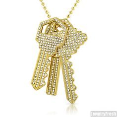 Gold Finish 3 Key Set Iced Out Bling Pendant Hip Hop Chain Set #JewelryFresh #Charm