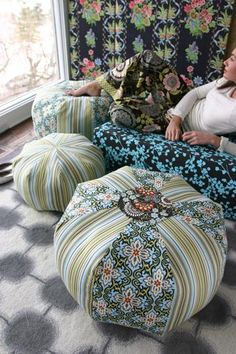 Amy Butler Lotus Fabrics with gumdrop pillows and pajama pants from In Stitches