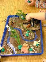 how to make a river tray with plant life and wild life that holds water