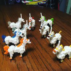 White unicorns , all different manes and tails.  #toy #nanouniverse #nanoblock #nano #lego #legoland #legocity #microblock #megablocks #bricks #brickbuilding
