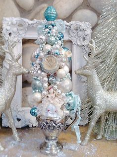 Pink Christmas, White Christmas,Bottle Brush Tree Silverplated Creamer Tiffany Blue Vintage Ornaments | eBay