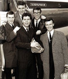 Cliff Richard and members of his supporting instrumental band 'The Shadows', at London Airport as they are about to fly off for a Scandinavian tour - 15 August 1961