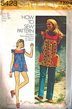 Vintage sewing pattern Smock top, pants, and bikini shorts Simplicity 5423 - 30 bust I remember these! Mini Bikini, The Bikini, Vintage Outfits, Vintage Fashion, Vintage Dress, Classy Fashion, Retro Dress, Petite Fashion, Boho Outfits