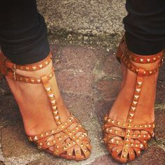 Studded sandals- have them in navy., sandals- have them in navy. Cute Shoes, Me Too Shoes, Shoe Boots, Shoes Heels, Sandal Heels, Strap Sandals, Studded Sandals, Navy Sandals, Crazy Shoes