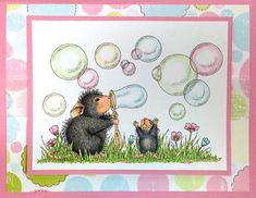 House Mouse Stamp by Stampendous - Blowing Bubbles - Scrapbooking Made Simple