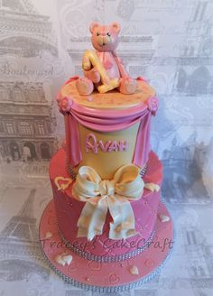Girls first birthday cake, edible teddy topper