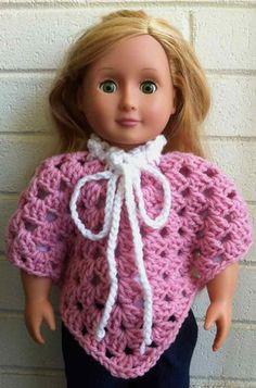 "Maggie's Crochet · 18"" Doll Granny Poncho Free Pattern"
