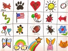 Simple Face Painting Patterns for kids, I used this exact sheet to face paint the 1st graders at Makenna's school and it was super easy to follow.