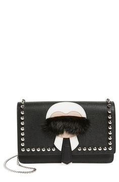Fendi 'Karlito' Genuine Mink Fur & Studded Leather Wallet on a Chain