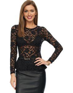 47f0f2c1fd Bardot Basic Peplum Black Lace Top -  80.00 Black Lace Tops