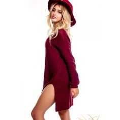Burgundy knitted look long sleeves v-neck casual dress ($20) ❤ liked on Polyvore featuring dresses, long sleeve dress, side cutout dresses, white long sleeve dress, long sleeve v neck dress and v-neck dresses