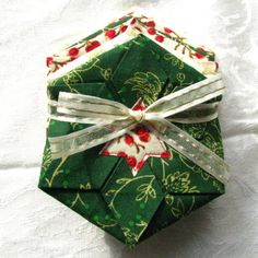AFTER CHRISTMAS SALE: Folded Fabric Coaster Set--Red, Green & Cream by TurtleFishCreations on Etsy