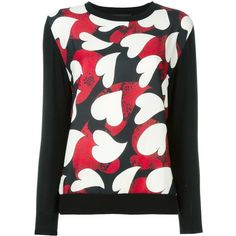 Boutique Moschino heart print jumper ($297) ❤ liked on Polyvore featuring tops, sweaters, black, heart print top, heart print sweater, jumper top and jumpers sweaters