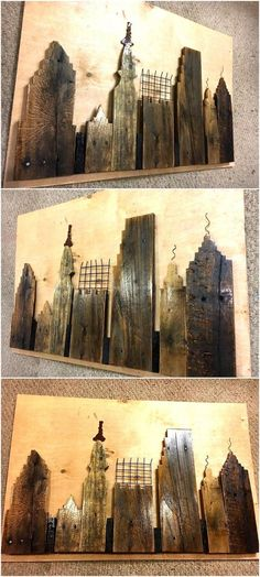 Now here is an idea for those who love art and likes to spend their free time creating wall art for their home, copying this skyline wall art idea can make the area look attractive as the idea is innovative and it is easy to create.
