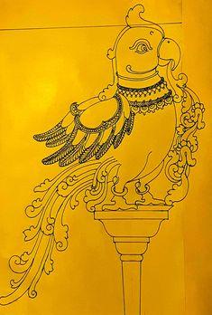 Tanjore pecock Mysore Painting, Kalamkari Painting, Kerala Mural Painting, Tanjore Painting, Indian Art Paintings, Peacock Embroidery Designs, Lotus Sculpture, Ornament Drawing, Fabric Paint Designs