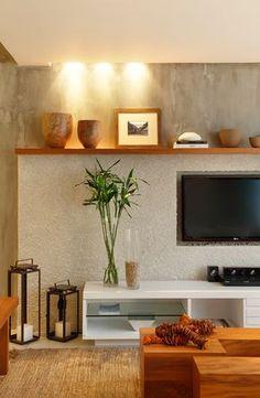 Foto do projeto Lounge Fashion Mall. Living Room Tv, Home And Living, Sala Grande, Interior Decorating, Interior Design, Sofa Design, Home Tv, Tv Decor, Home Decor Furniture